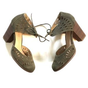 Restricted Olive Green Suede Laser Cut Heels